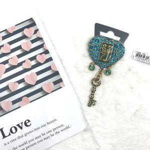 Blue Crystal Heart, Deer with Dangling Key Brooch